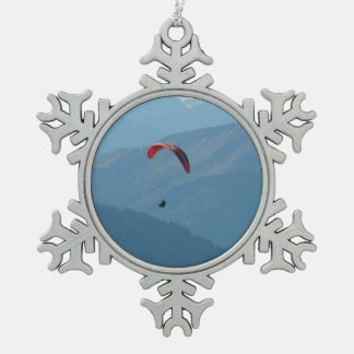 Paraglider Paragliding Para Glide Snowflake Pewter Christmas Ornament