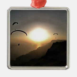 Paragliders Flying Without Wings Silver-Colored Square Ornament