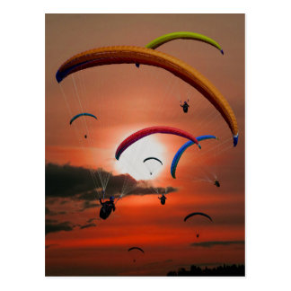 Paragliders in a Beautiful Sky Postcard