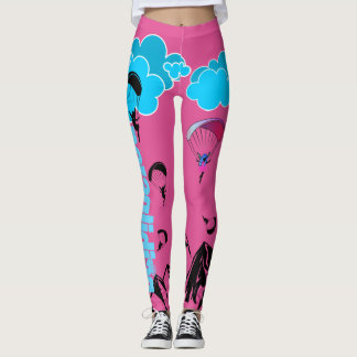 Paragliding Pixie Scenery Leggings Pink