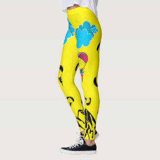 Paragliding Pixie Scenery Leggings Yellow