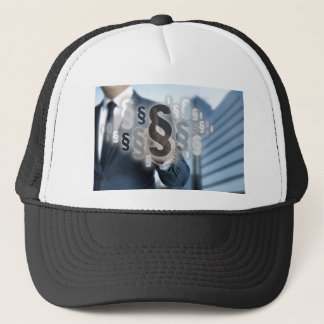 Paragraphs are selected by businessman trucker hat