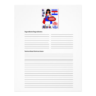 Paraguay blank desserts recipe cards