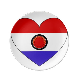 Paraguay Flag Heart Plate