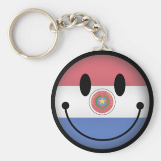 Paraguay Smiley Keychain