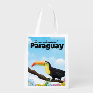Paraguay Toucan travel poster Reusable Grocery Bag