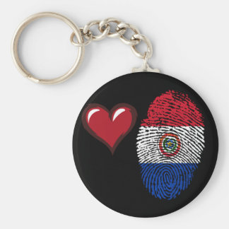 Paraguayan touch fingerprint flag basic round button keychain
