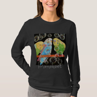 Parakeet Blowing Bubbles Art T-Shirt by M. Hughes