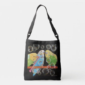 Parakeet Bubbles Tote All Over Art by Mary Hughes