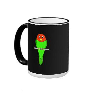 Parakeet Cartoon. Bird on a perch. Coffee Mugs