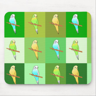 Parakeet Green Tiled pattern Mouse Pad