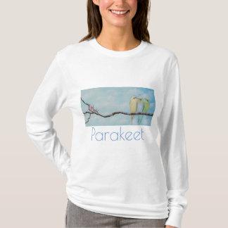 Parakeet in Cloudy Sky Art T-shirt by M. Hughes