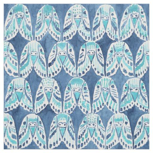 PARAKEET ON REPEAT Blue Boho Budgie Pattern Fabric