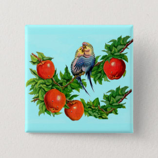 parakeets in love 2 inch square button