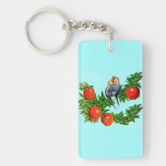 parakeets in love keychain
