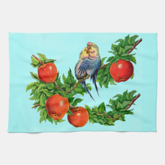 parakeets in love kitchen towel