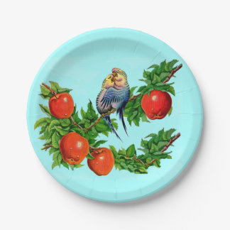 parakeets in love paper plate