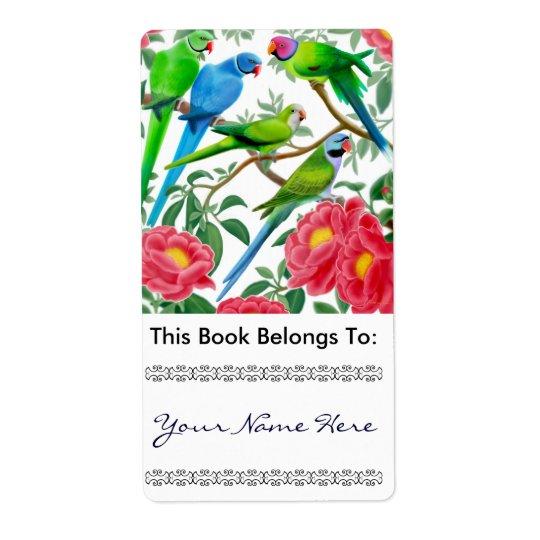 Parakeets in Peonies Bookplate