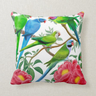 Parakeets in Peony Flowers Pillow