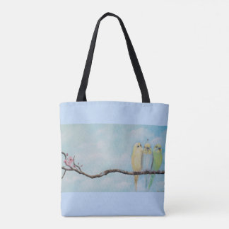 Parakeets On A Branch All Over Tote
