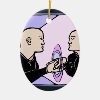Parallel Self Ceramic Oval Ornament