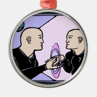 Parallel Self Silver-Colored Round Ornament