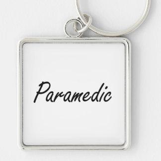 Paramedic Artistic Job Design Silver-Colored Square Keychain