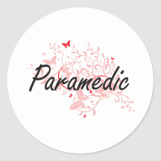 Paramedic Artistic Job Design with Butterflies Round Sticker