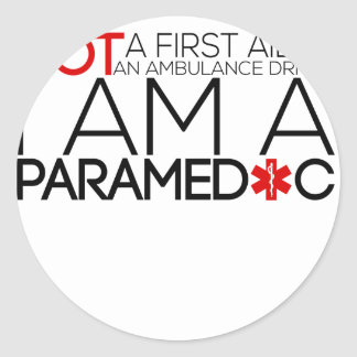 paramedic design cute classic round sticker