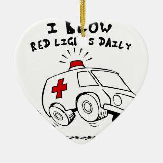 paramedic emt ceramic heart ornament