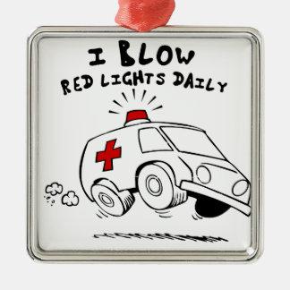 paramedic emt Silver-Colored square ornament
