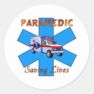 Paramedic Saving Lives Round Sticker