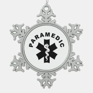 Paramedic Theme Snowflake Pewter Christmas Ornament