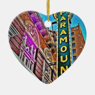 Paramount Theater Ceramic Heart Ornament