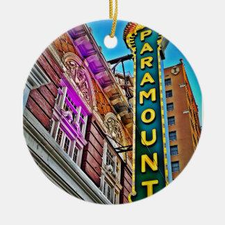 Paramount Theater Round Ceramic Ornament