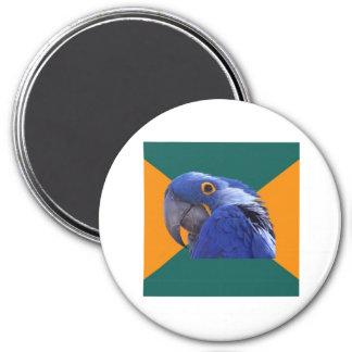 Paranoid Parrot Bird Advice Animal Meme 3 Inch Round Magnet
