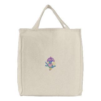 Parapluie et fleurs sacs fourre-tout brodés