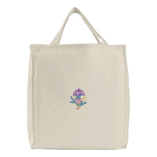 Parapluie et fleurs sacs en toile
