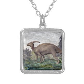Parasaurolophus dinosaur - 3D render Silver Plated Necklace