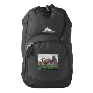 Parasaurolophus dinosaur among gingko trees backpack