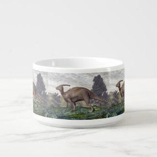 Parasaurolophus dinosaur among gingko trees bowl