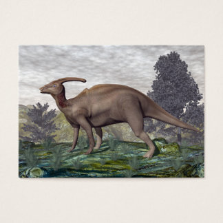 Parasaurolophus dinosaur among gingko trees business card