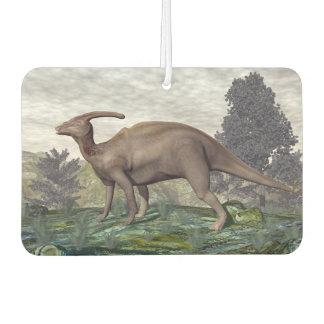 Parasaurolophus dinosaur among gingko trees car air freshener