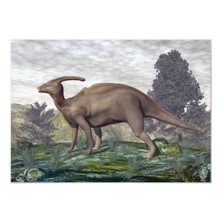 Parasaurolophus dinosaur among gingko trees card