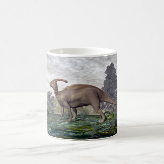 Parasaurolophus dinosaur among gingko trees coffee mug