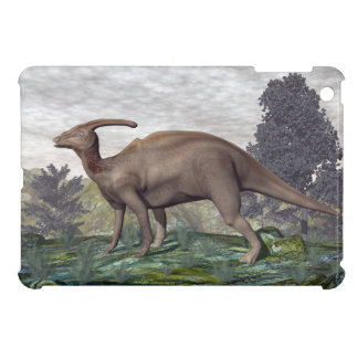 Parasaurolophus dinosaur among gingko trees cover for the iPad mini