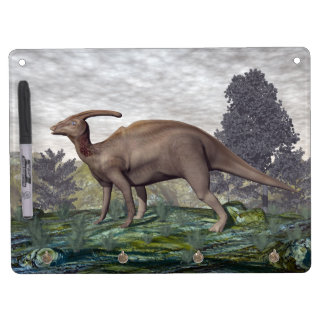 Parasaurolophus dinosaur among gingko trees dry erase board with keychain holder