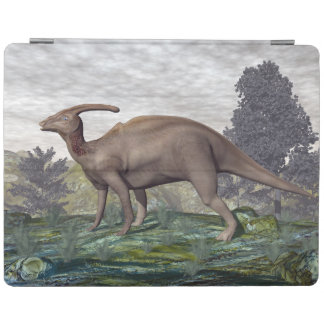 Parasaurolophus dinosaur among gingko trees iPad cover