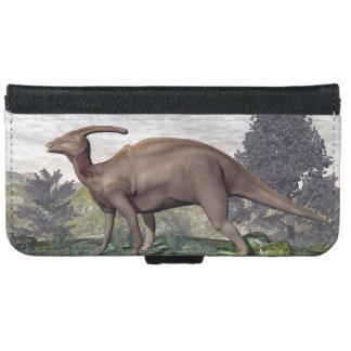 Parasaurolophus dinosaur among gingko trees iPhone 6 wallet case