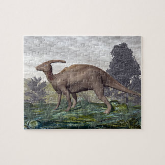 Parasaurolophus dinosaur among gingko trees jigsaw puzzle